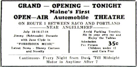 Newspaper Ad for Opening Night at the Saco Drive-In