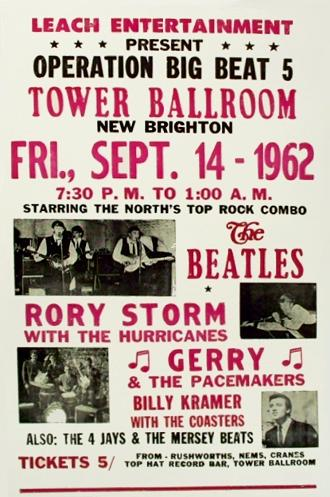 Poster Advertising Operation Big Beat 5 W The Beatles Rory Storm Hurricanes Gerry Pacemakers Billy Kramer Coasters